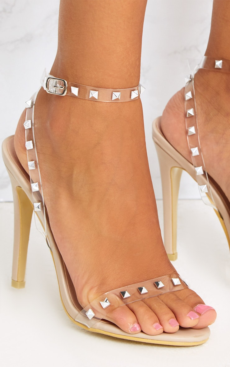 Nude Clear Strap Studded Strappy Heels 5
