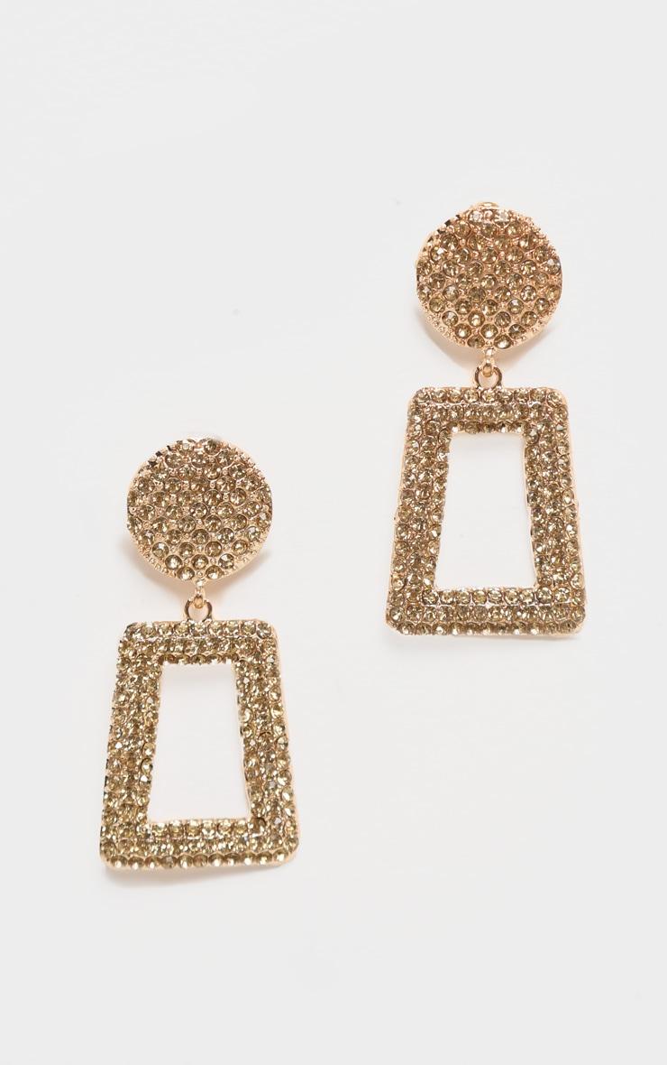 Boucles d'oreilles door knocker dorées couvertes de strass 2