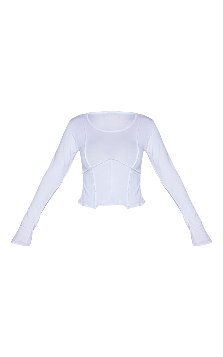 White Exposed Seam Corset Detail Long Sleeve Crop Top 5
