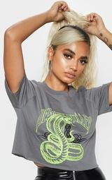 Petite Grey Snake Crop T-Shirt 5