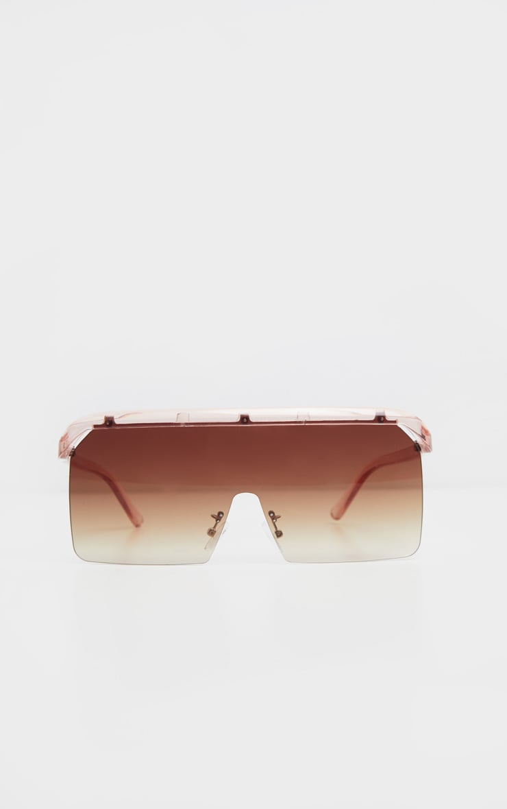 Brown Faded Square Oversized Sunglasses 2