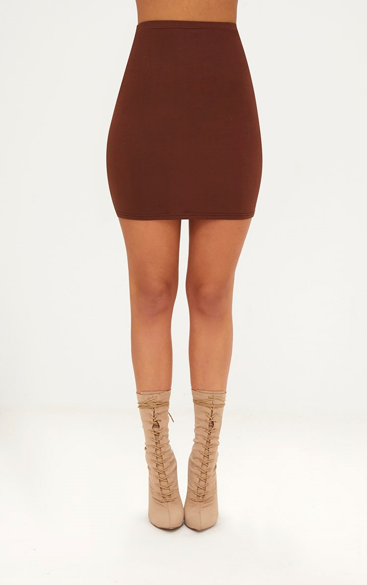 Chocolate Brown Ultimate Jersey Mini Skirt 2