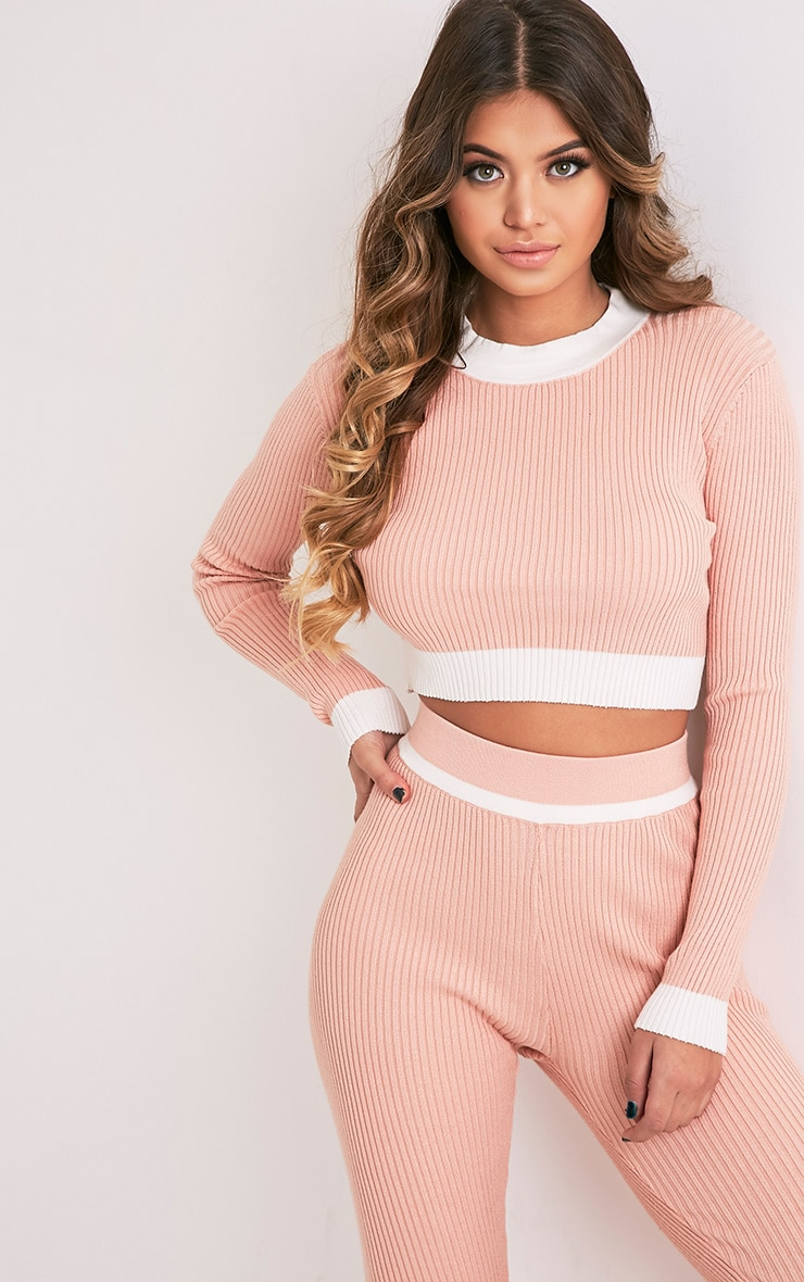 Sufiya Nude Colour Blocked Knit Ribbed Crop 1