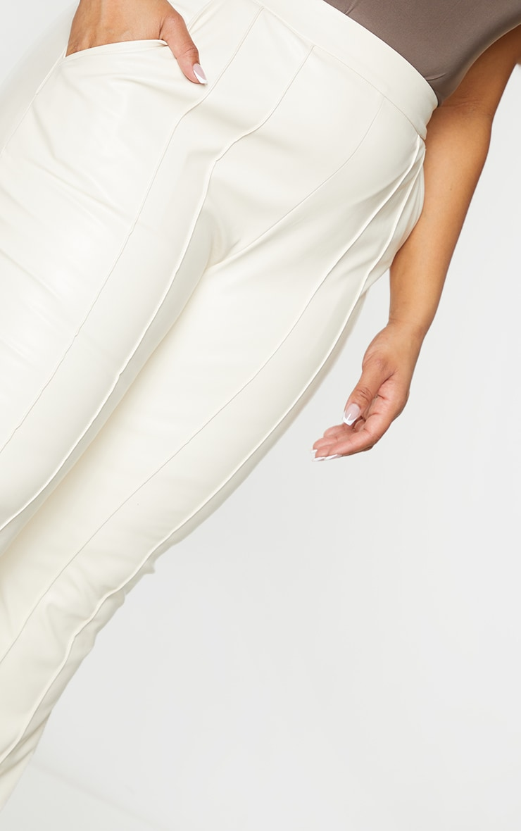 Plus Cream PU seam Detail Trouser 4