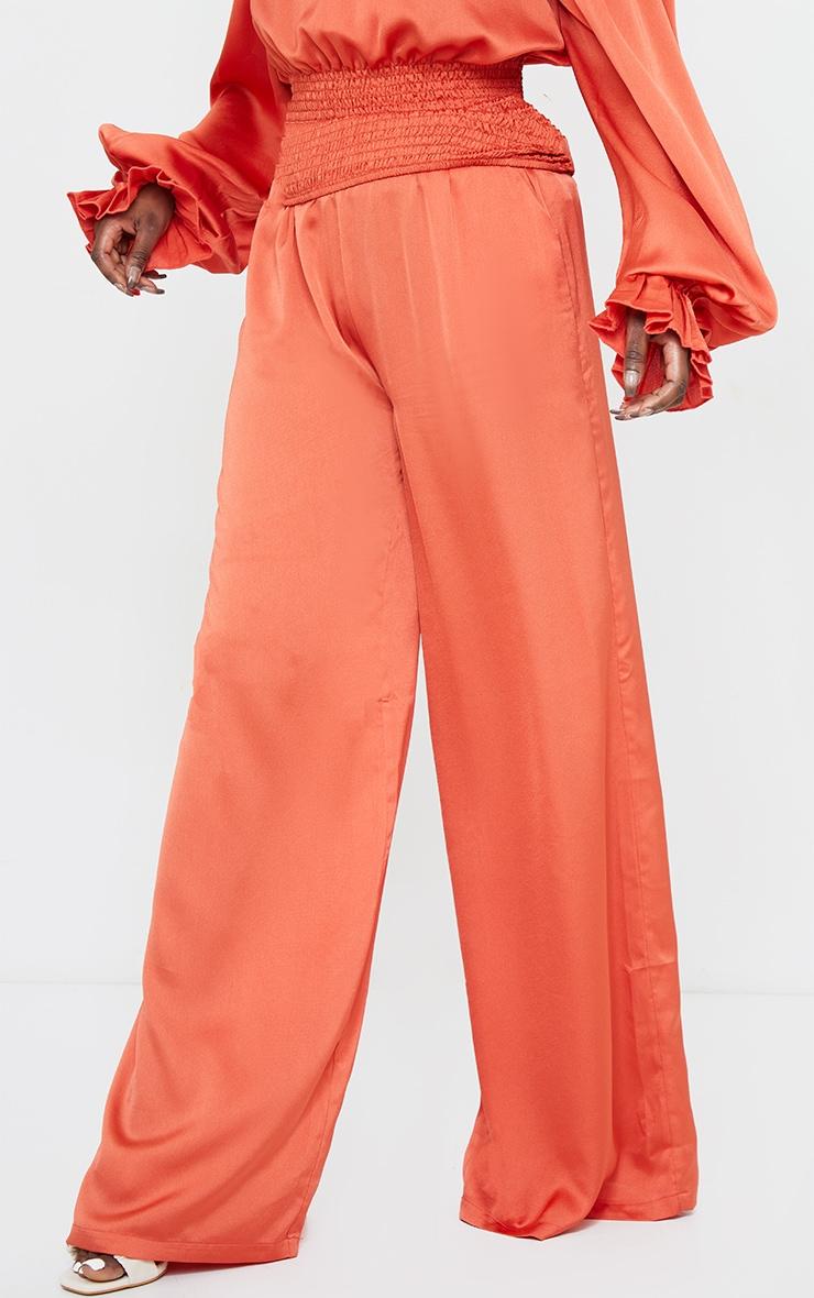 Rust Elastic Waist Wide Leg Trousers 2