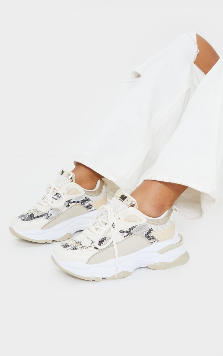 Natural Snake Contrast Chunky Sneakers 2