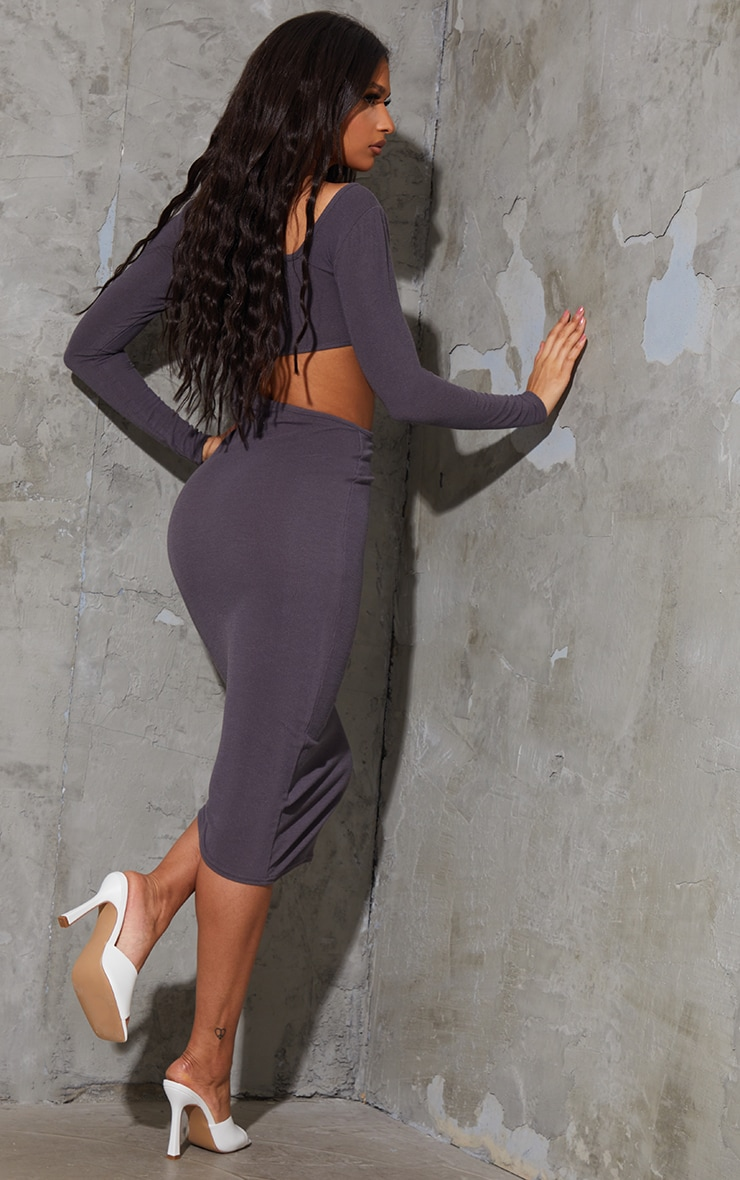 Charcoal Blue Ribbed Long Sleeve Cut Out Midaxi Dress 2