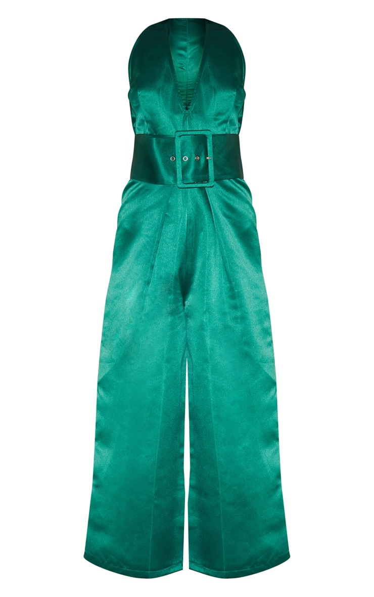 Green Satin Belt Culotte Jumpsuit 4