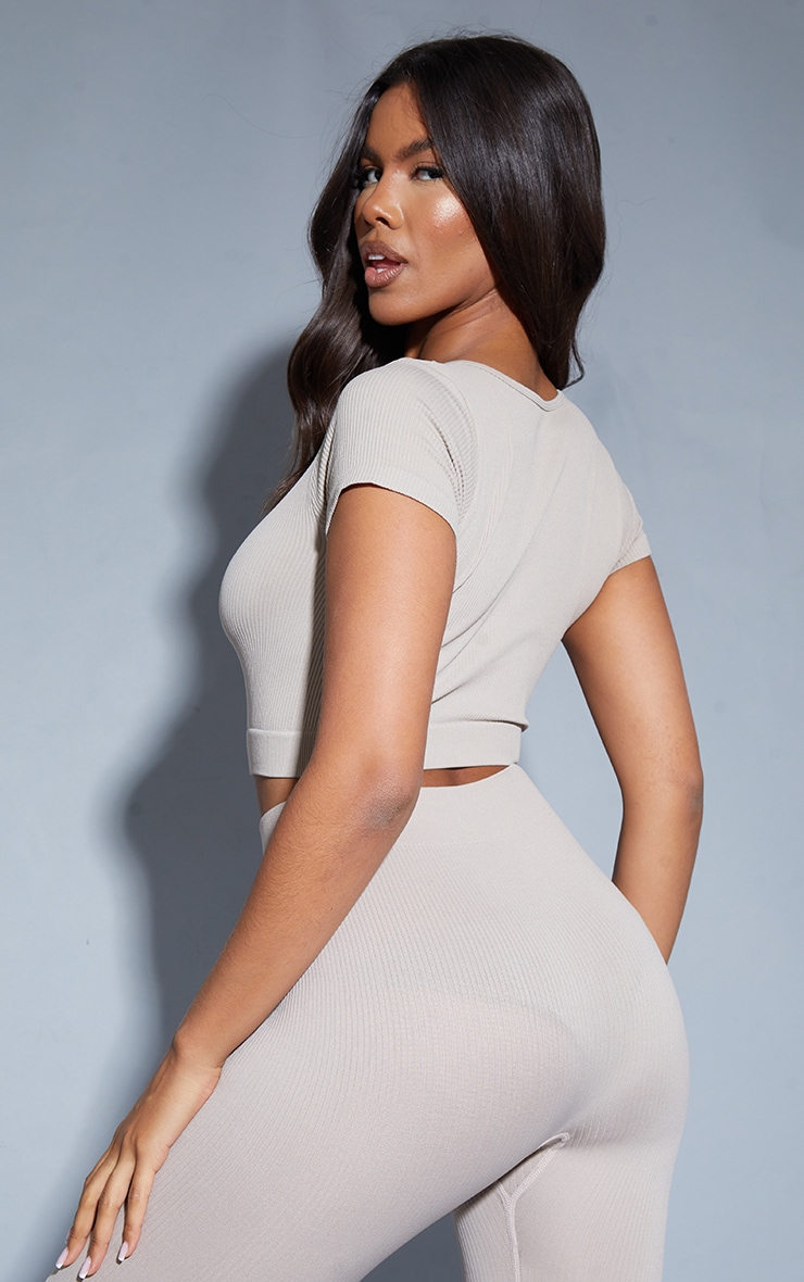 Stone Structured Contour V Neck Band Short Sleeve Crop Top 2