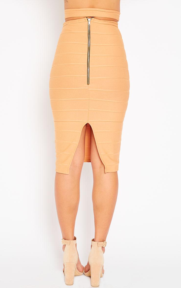 Jaimie Camel Cut Out Bandage Midi Skirt 2
