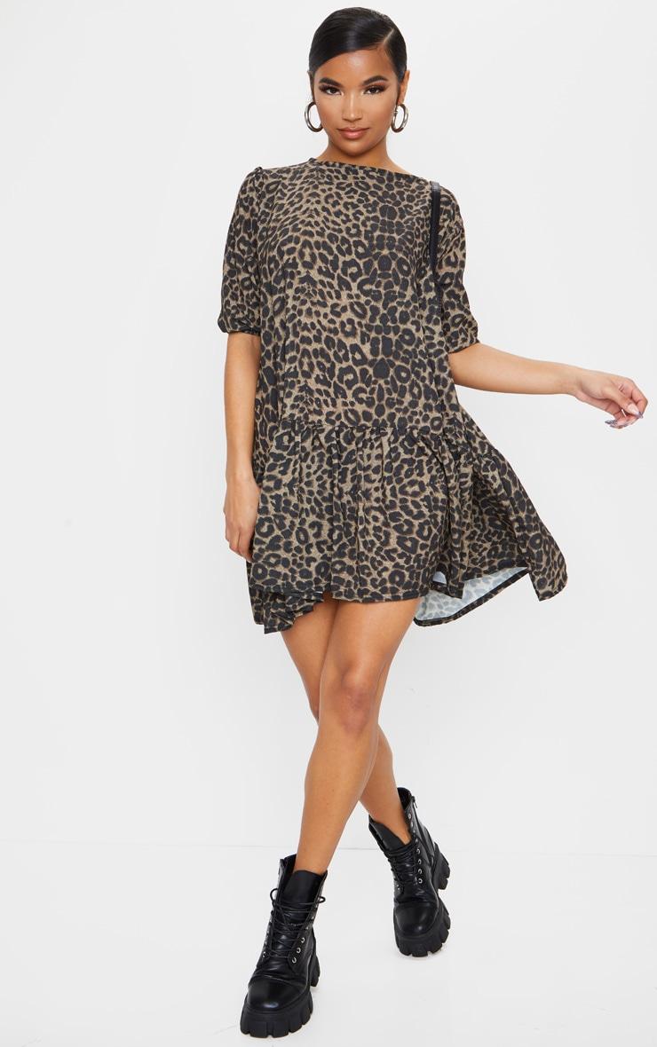 Brown Leopard Print Puff Sleeve Smock Dress 3
