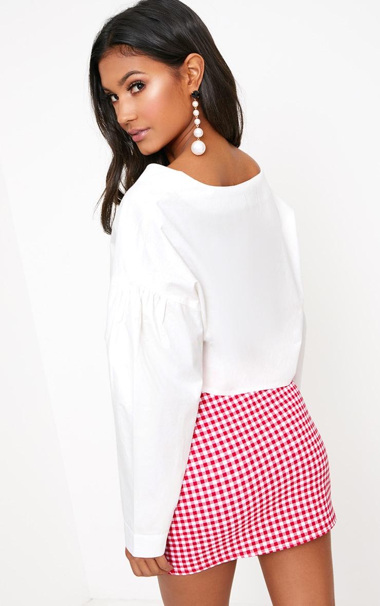 White V Neck Drop Sleeve Shirt 2