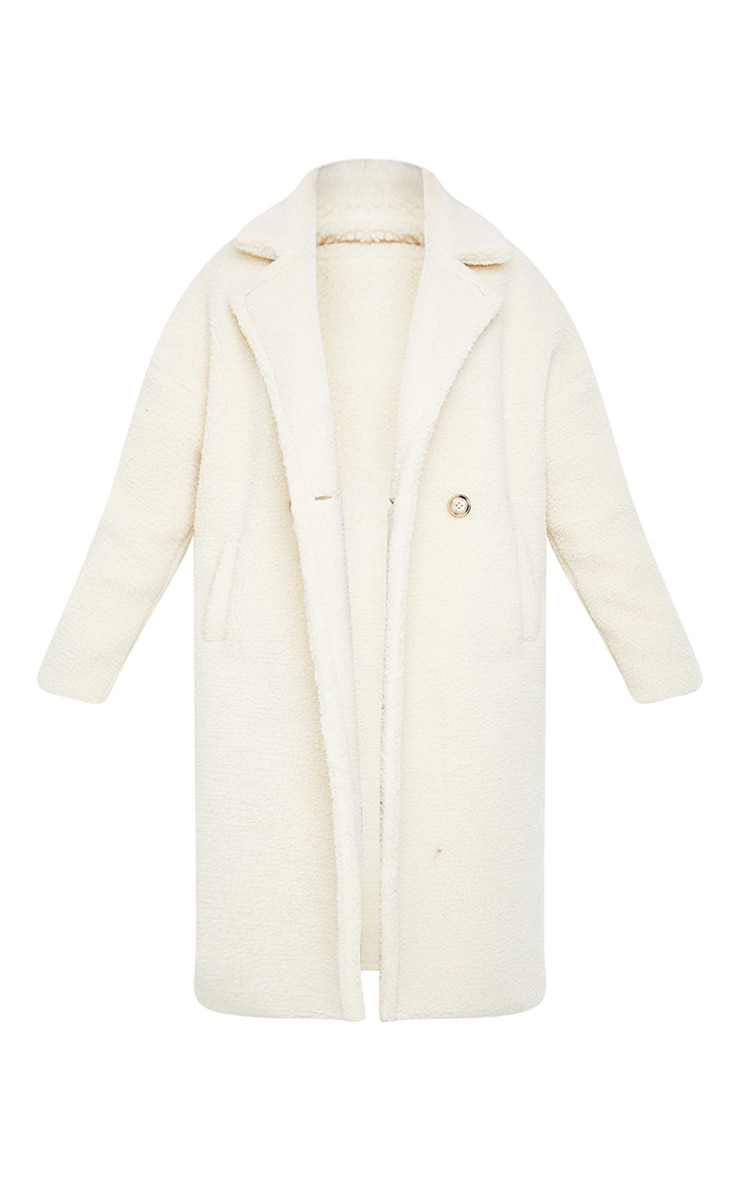 White Borg Lapel Drop Arm Maxi Coat 5