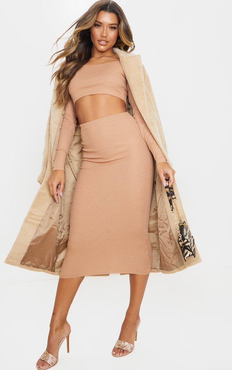 Camel Rib Crop And Skirt Set 4