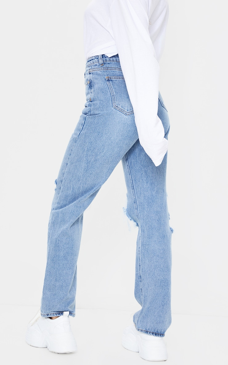 Light Blue Wash Extreme Distress Loose Straight Leg Jeans 3