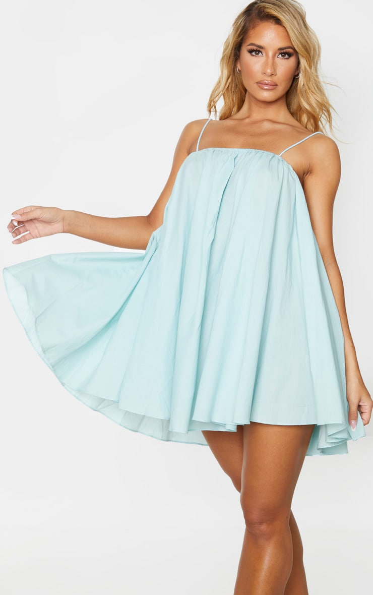 Mint Cotton Spaghetti Strap Puff Beach Dress 1