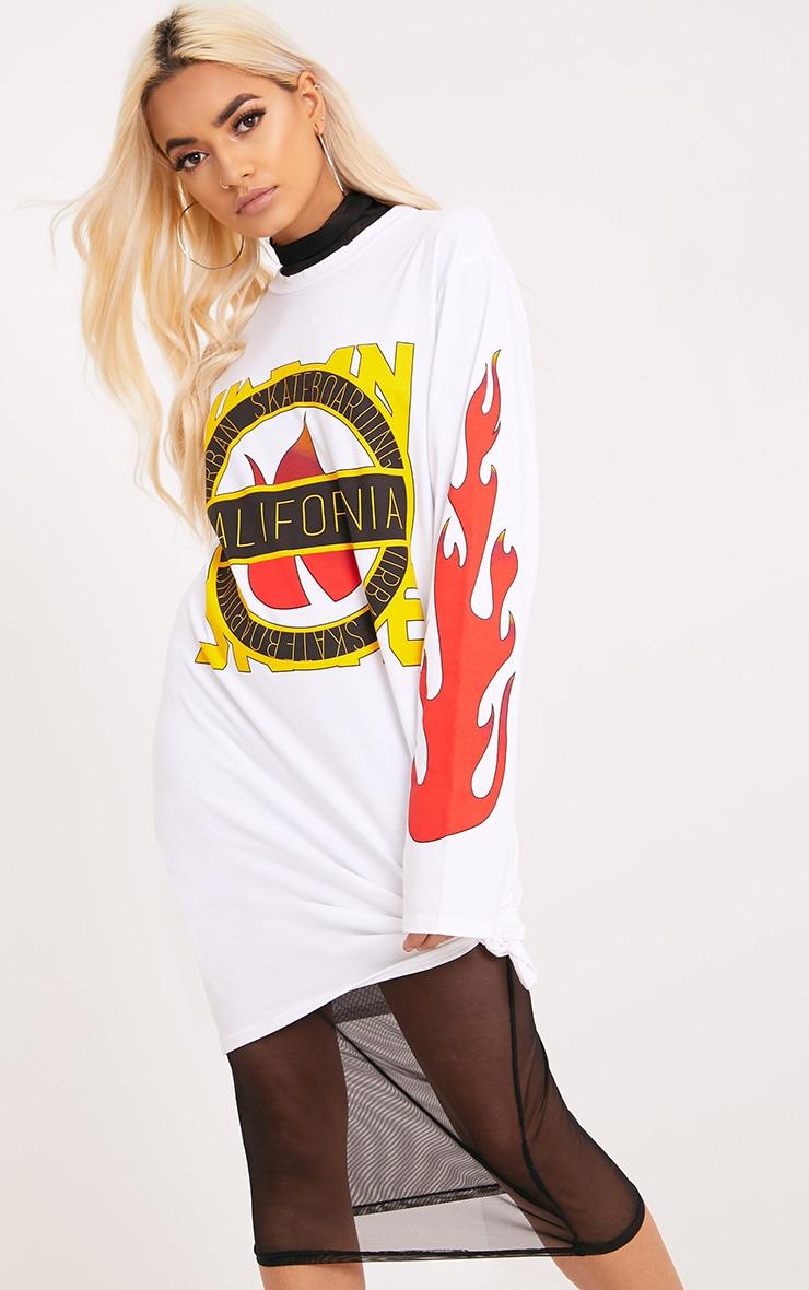 California White Flame Long Sleeve T Shirt Dress 3
