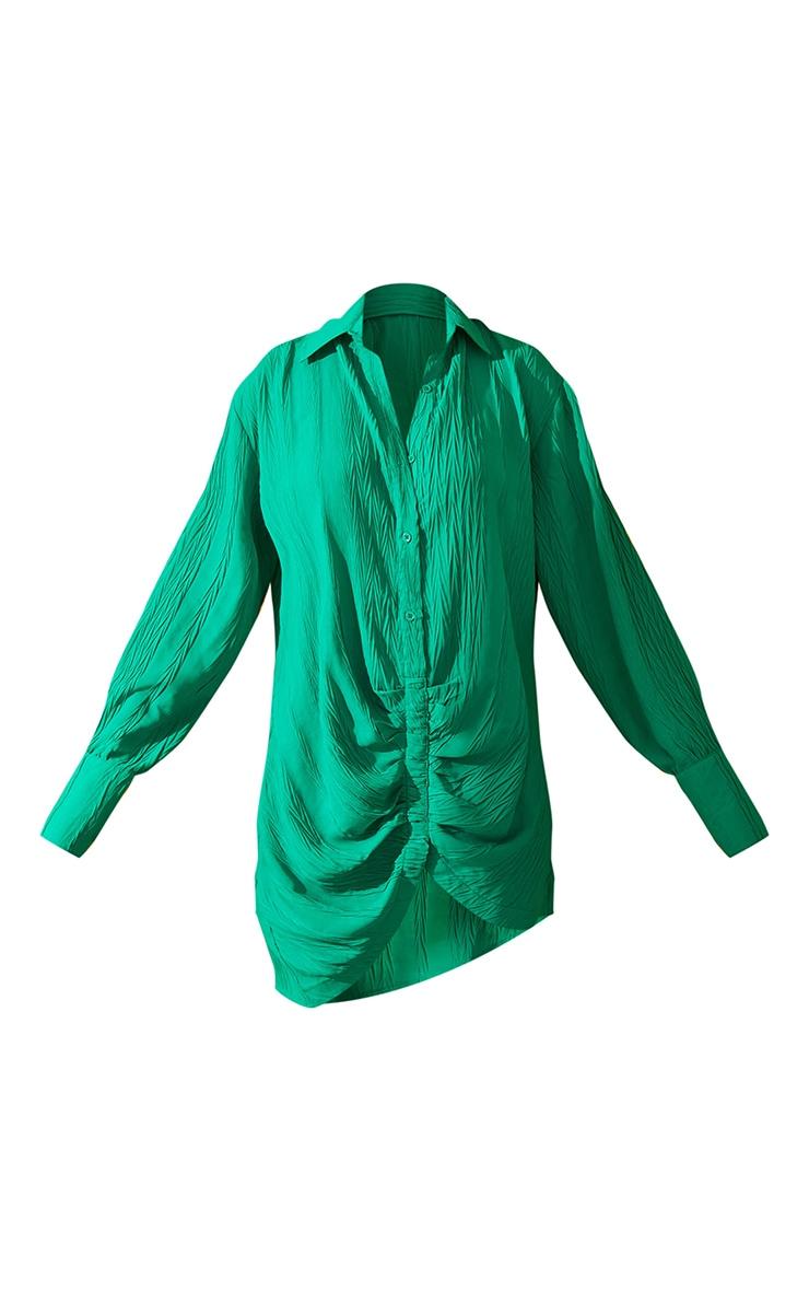 Green Textured Gathered Detail Long Sleeve Shirt Dress 6
