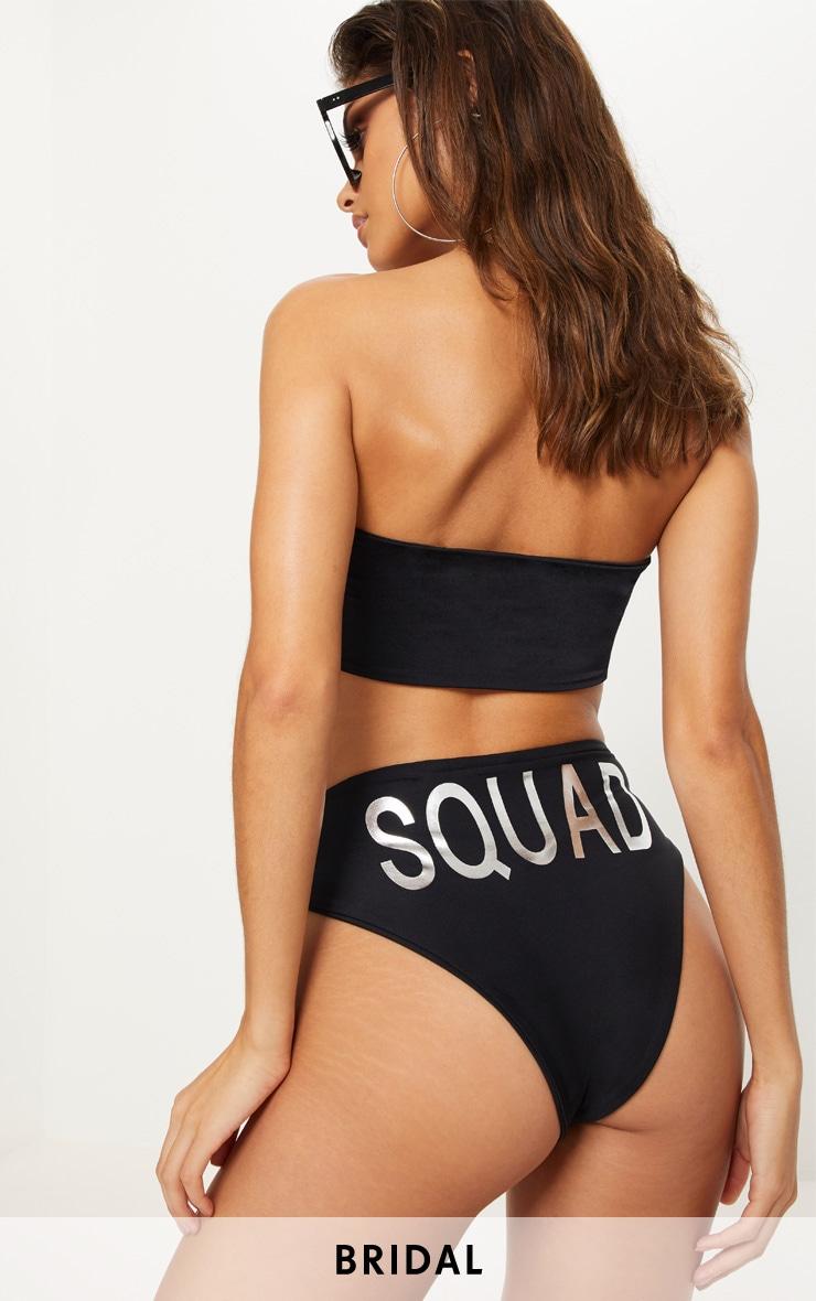 Black Squad High Waisted High Leg Bikini Bottom 1