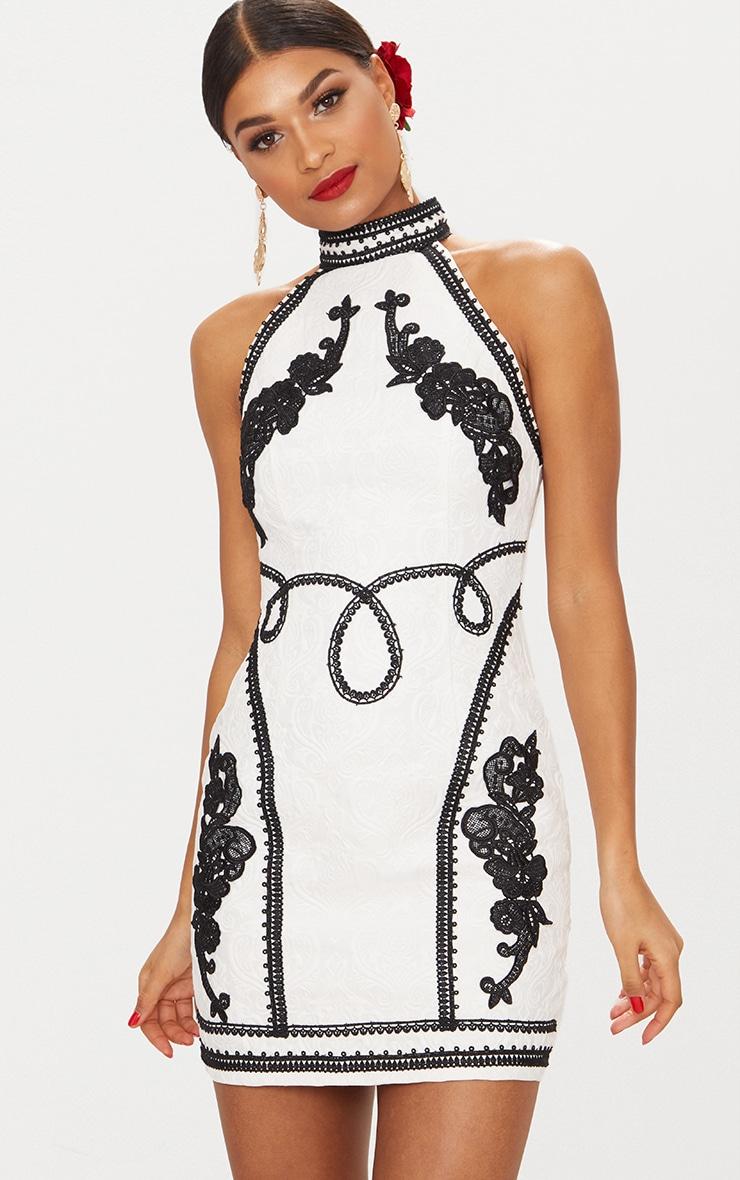 White Jacquard Black Embroidered Bodycon Dress 2