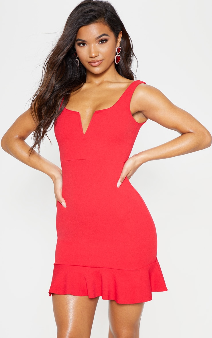 Red V Bar Frill Hem Bodycon Dress 2