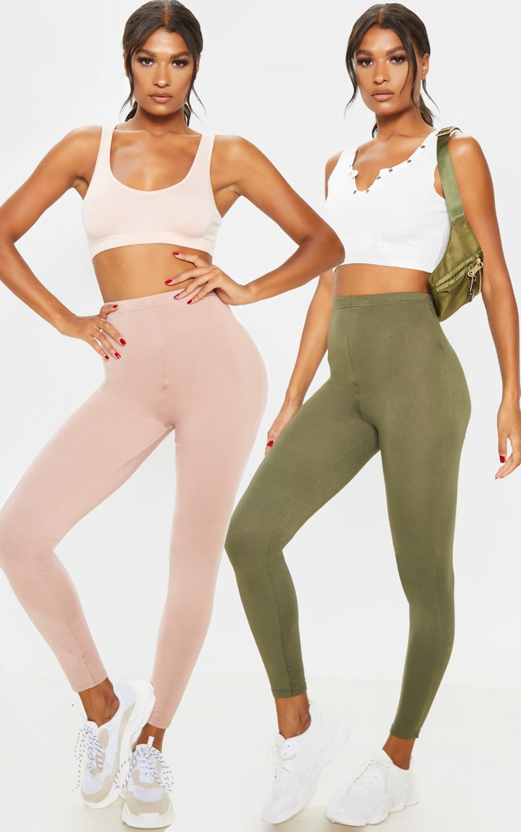 Dusty Rose And Sage Khaki 2 Pack Jersey Leggings 1