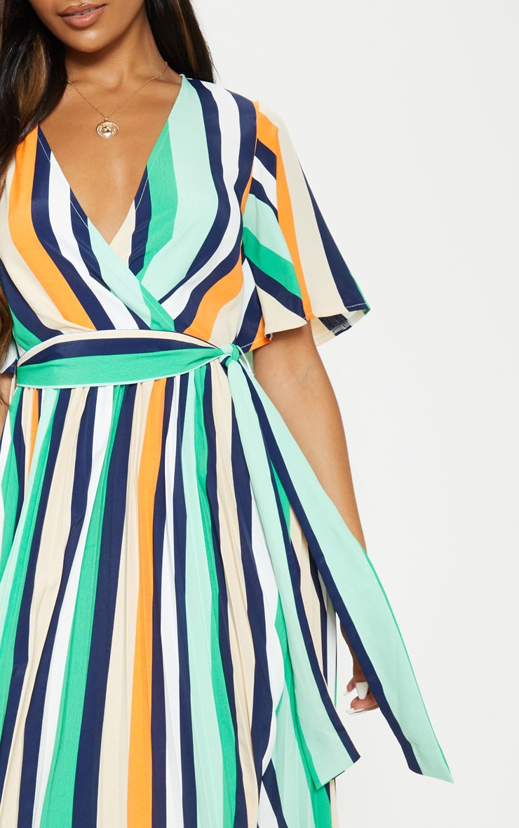 White Stripe Print Pleat Midi Dress 5