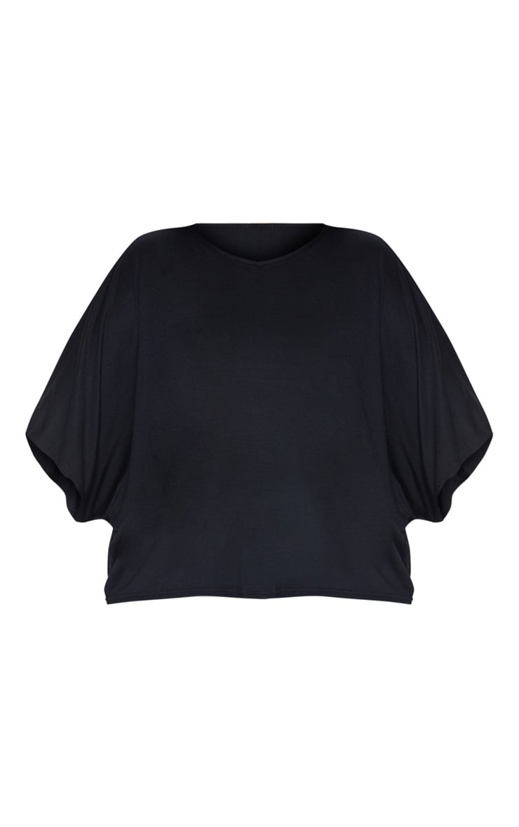 Plus Black Basic Jersey Batwing T shirt 3