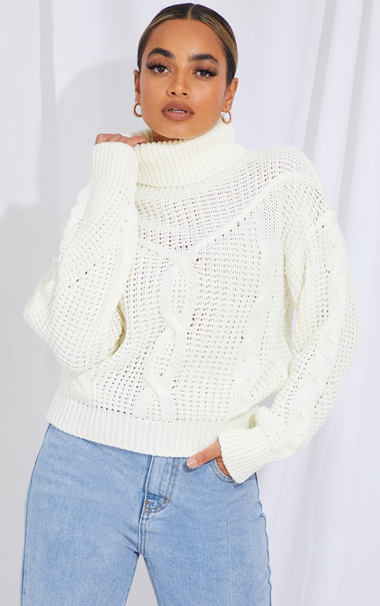 Petite White Oversized Chunky Knit Sweater  1