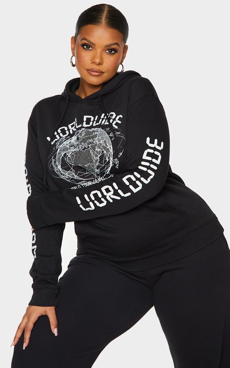 Plus Black Worldwide Slogan Oversized Hoodie 1