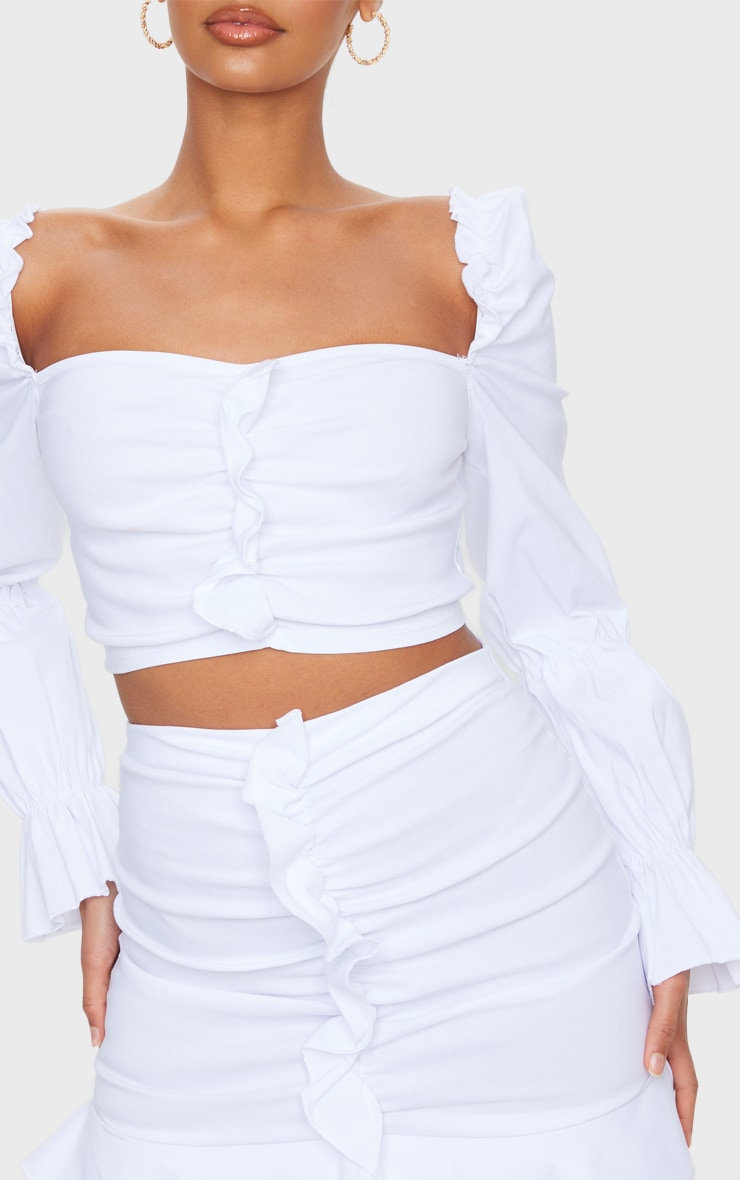 White Woven Stretch Frill Ruched Front Long Sleeve Crop Top 4