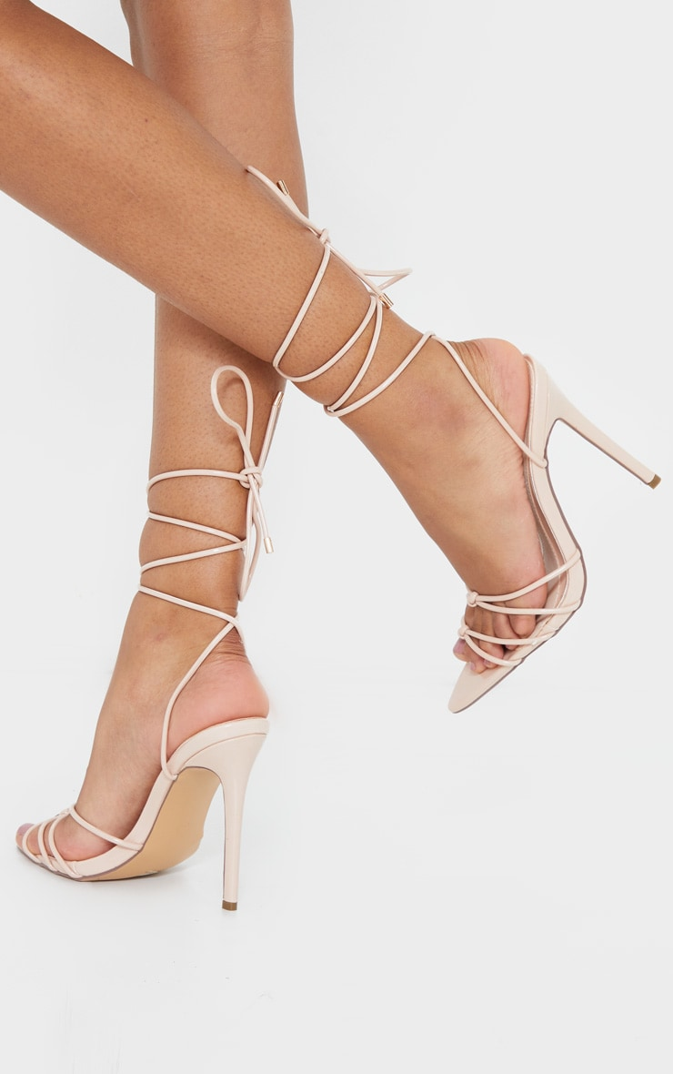 Nude Double Knot Point Toe Lace Up Heel Sandals 2