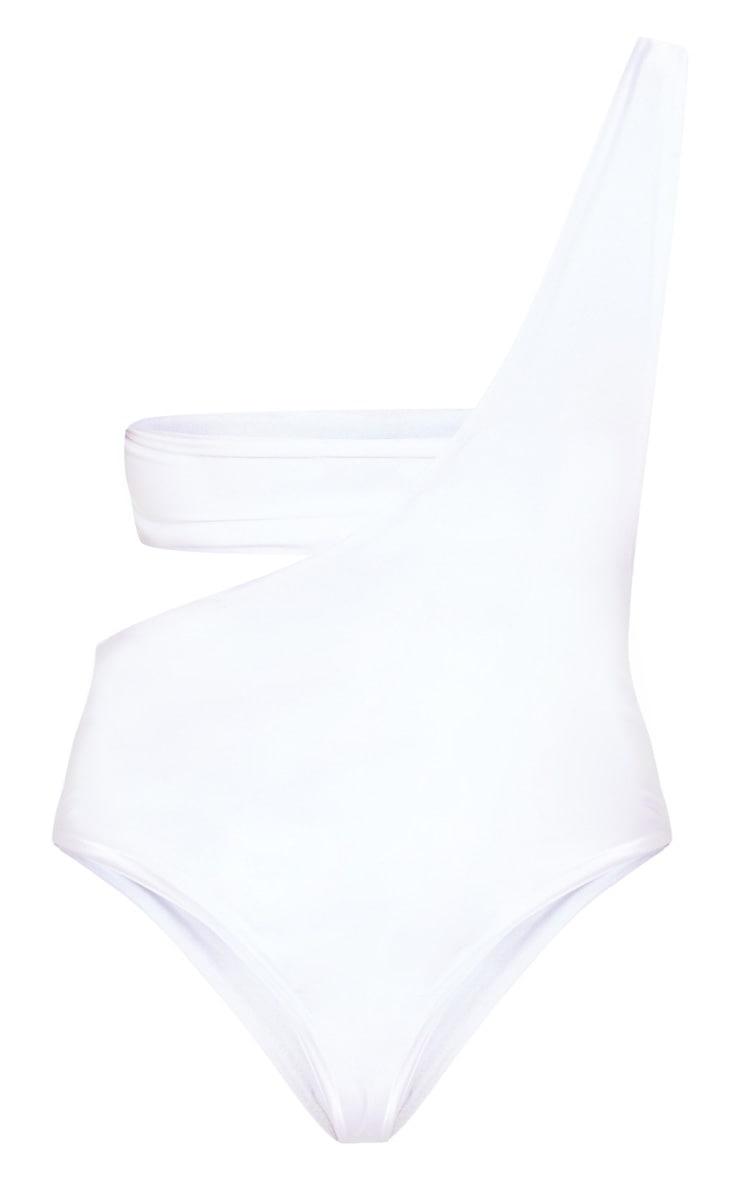 Petite White Asymmetric Swimsuit 4