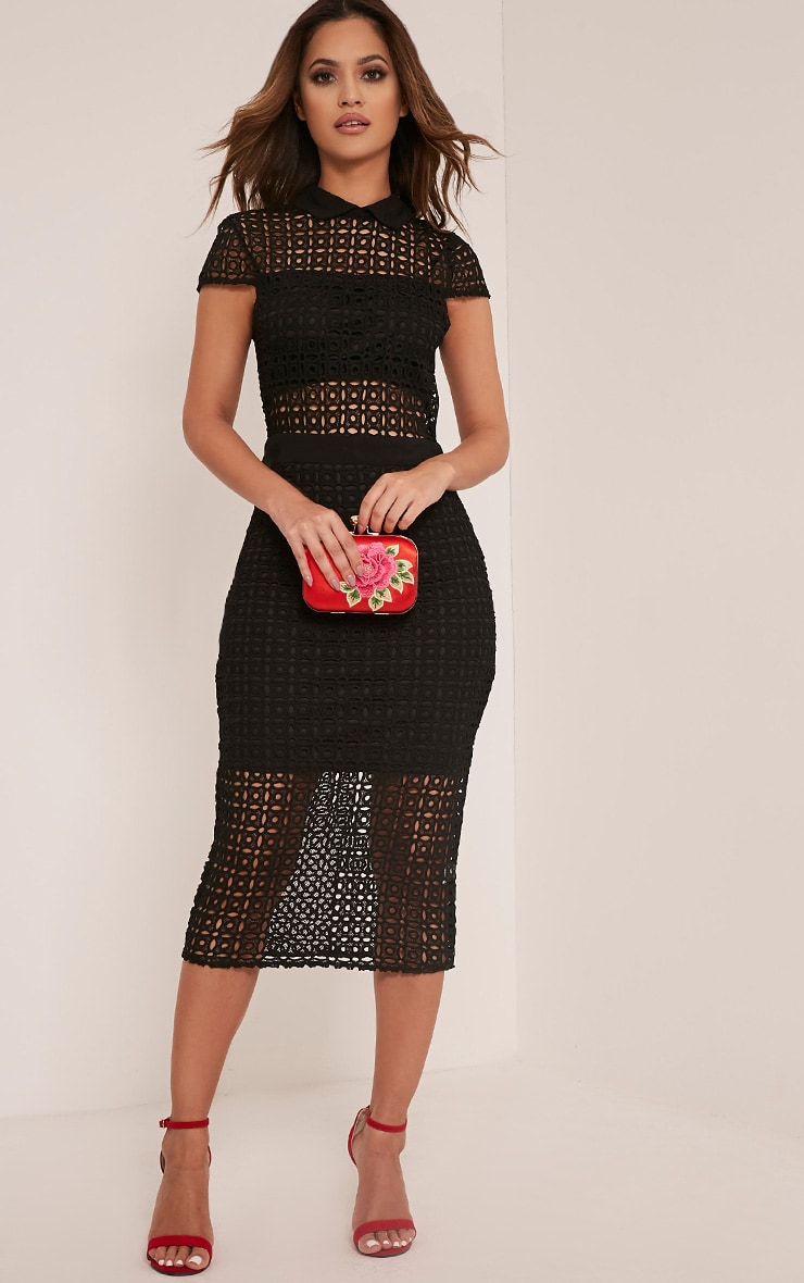Becky Black Collar Detail Crochet Midi Dress 1