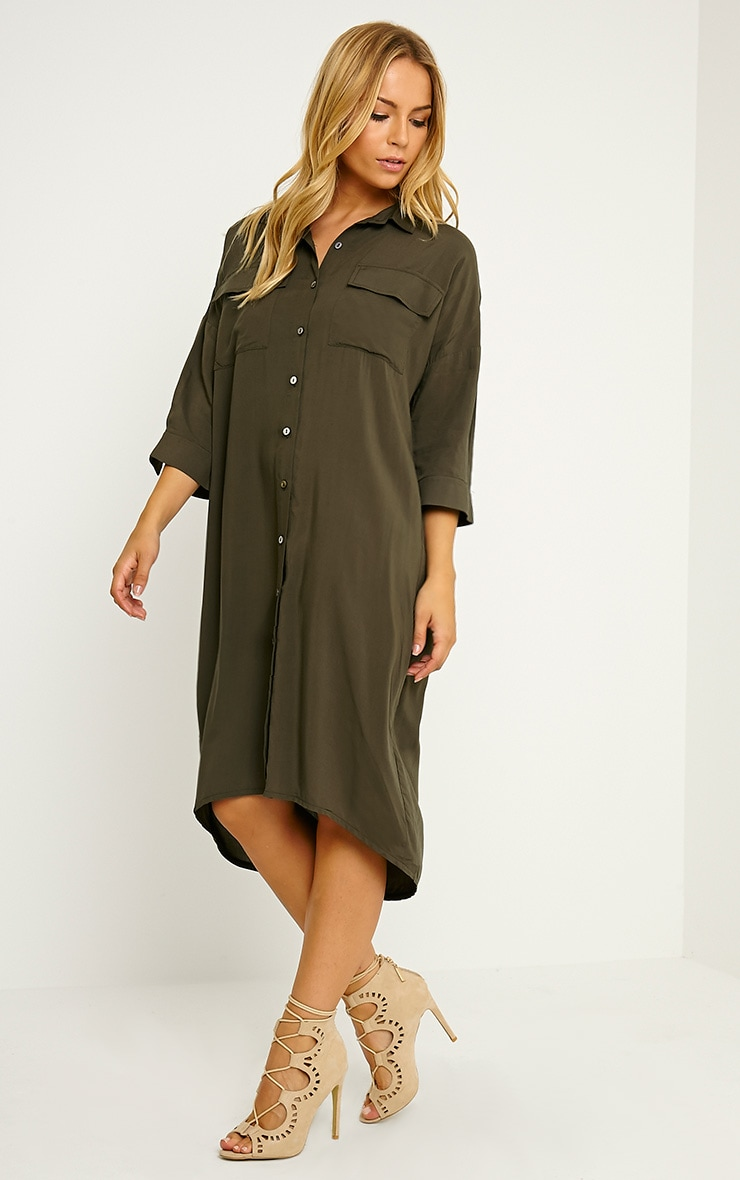 Perrin Khaki Longline Shirt Dress 3