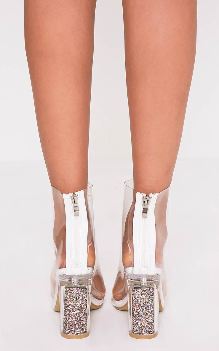 Viviana Clear Open Toe Perspex Heel Ankle Boots 4