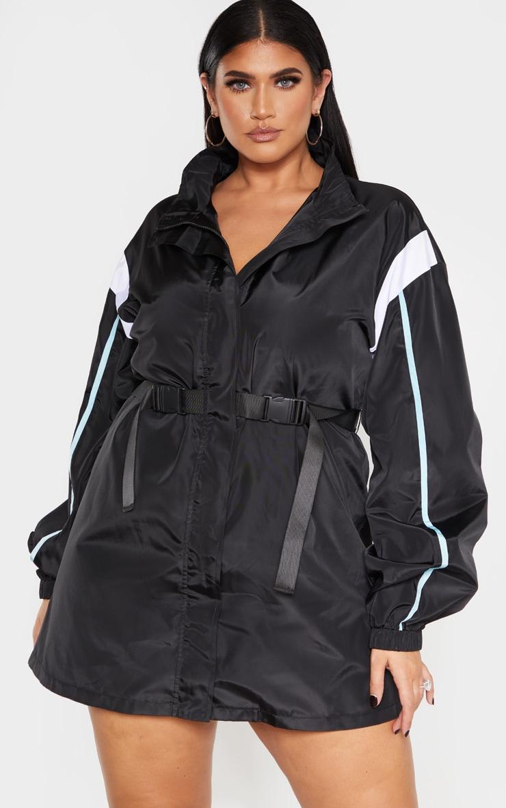 PLT Plus - Robe souple ceinturée noire à parties contrastées  1