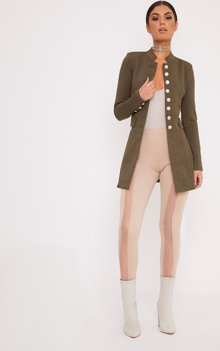 Deleana Khaki Longline Military Style Jacket 4