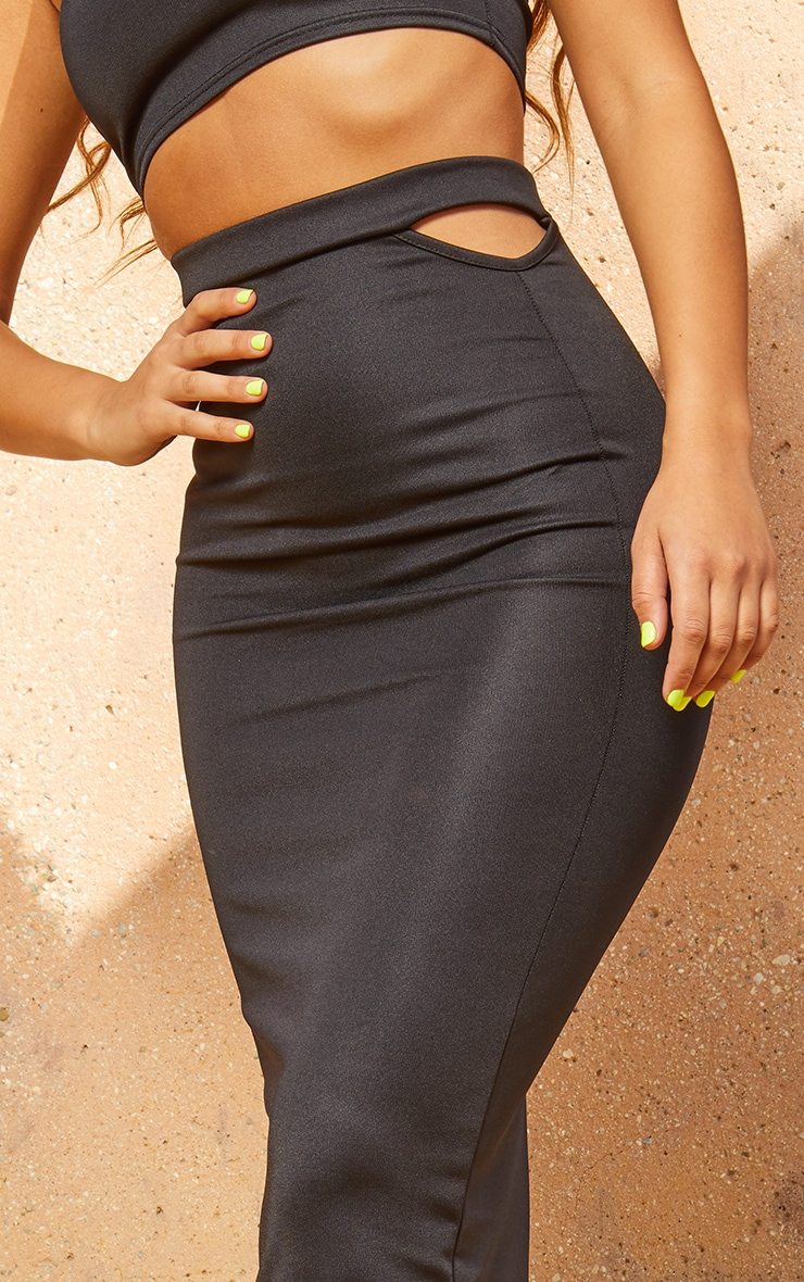 Black Second Skin Cut Out Midi Skirt 5