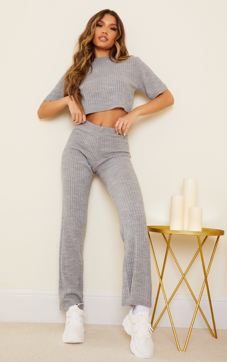 Grey Ribbed Knitted Wide Leg Set 1