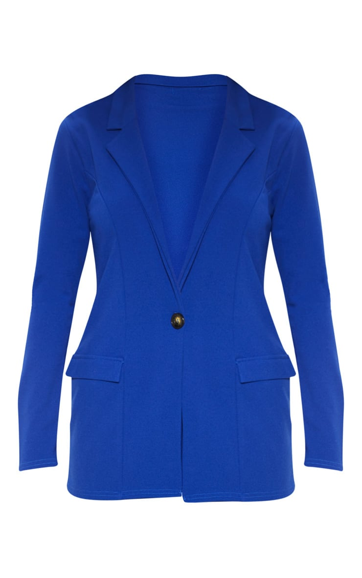 Blue Fitted Button Detail Crepe Blazer 3