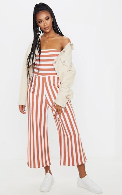 Terracotta Contrast Stripe Bandeau Culotte Jumpsuit