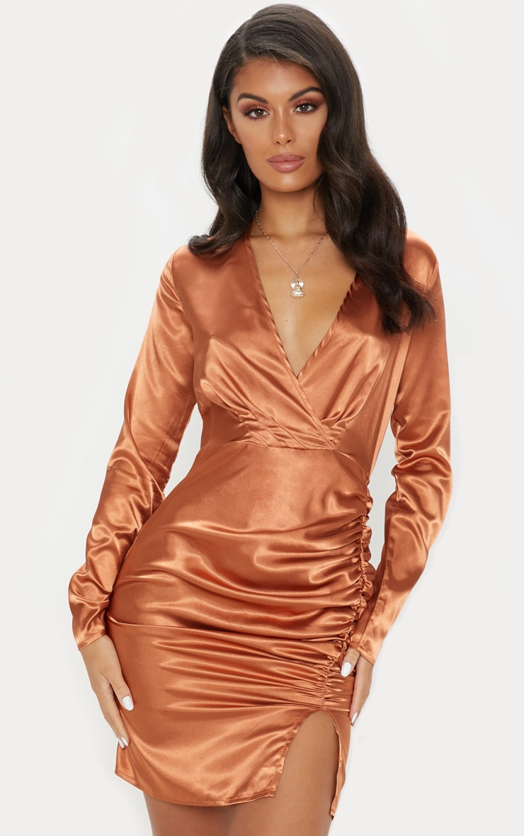 Rust Satin Wrap Ruched Plunge Bodycon Dress