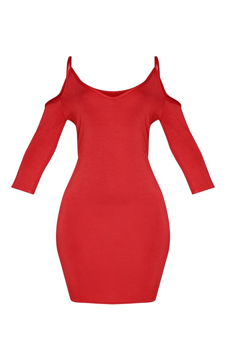 Kaleah Red Cold Shoulder Bodycon Dress 3