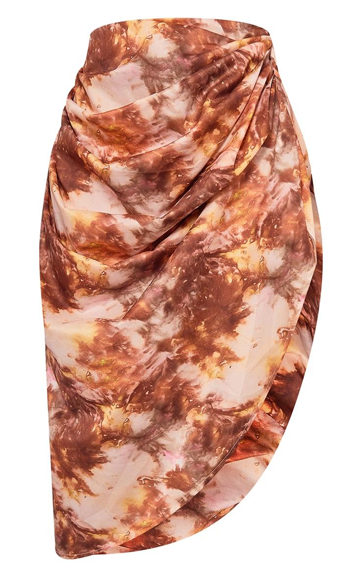 Brown Tie Dye Print Ruched Side Midi Skirt 5