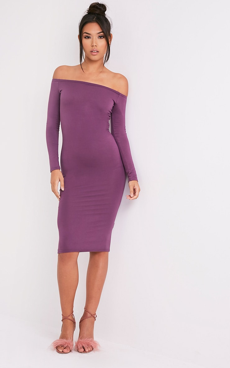 Basic Aubergine Jersey Bardot  Midi Dress 4