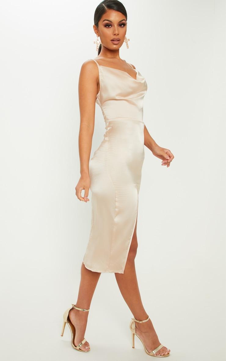 Champagne Strappy Satin Cowl Midi Dress 1