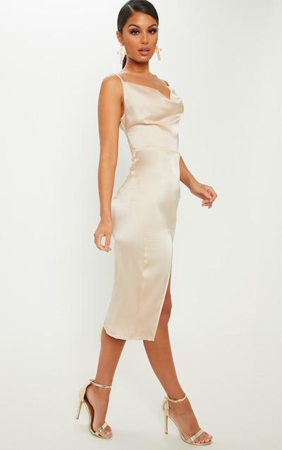 3181f7df067 Champagne Strappy Satin Cowl Midi Dress