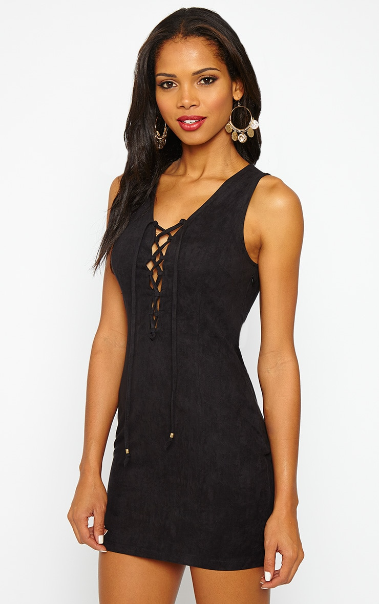 Taina Black Suede Lace Up Mini Dress 4