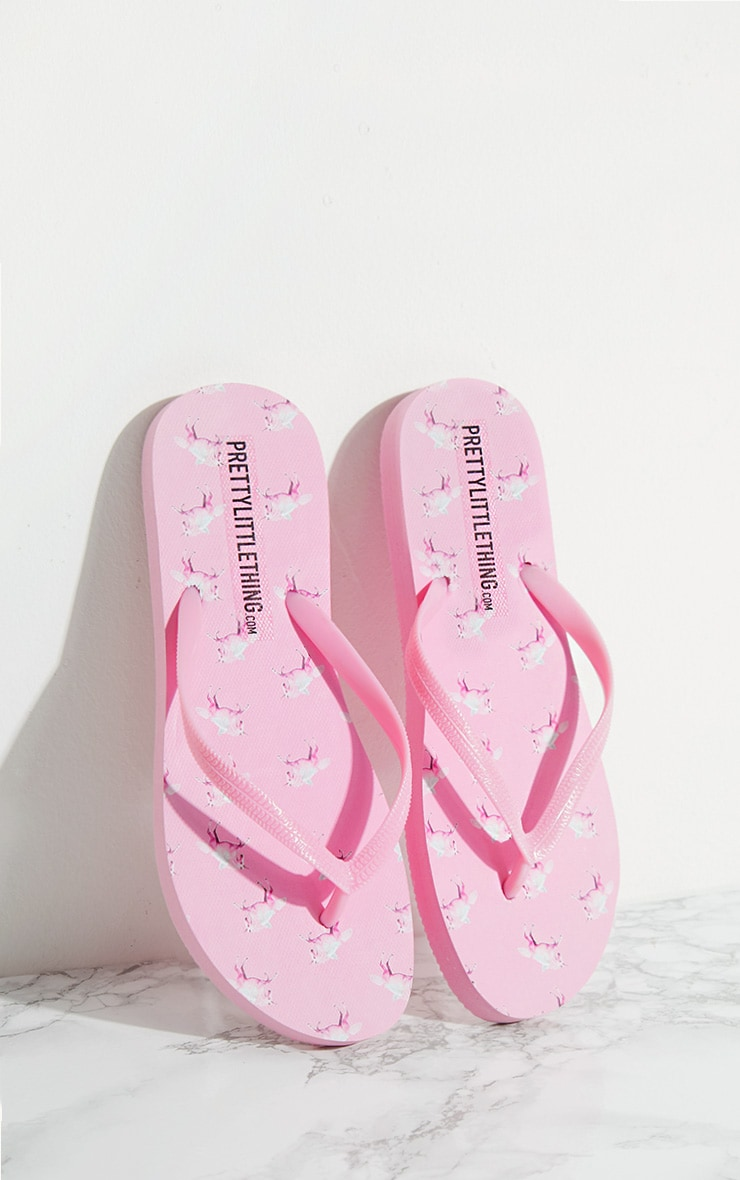 PRETTYLITTLETHING Unicorn Flip Flops 1